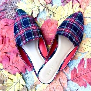 NWT Tweed Plaid Mules - Red Tartan Almond Toe
